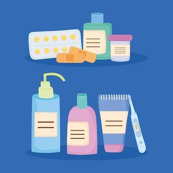 Osiem ikon zestawów leków