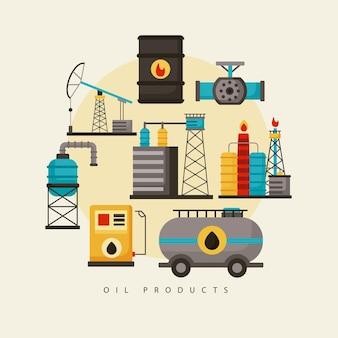 Osiem ikon zestawu przemysłu naftowego