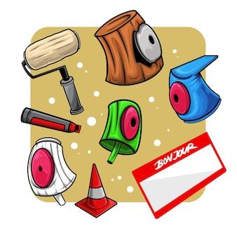 Osiem ilustracji naklejek z narzędziami do graffiti