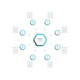 Osiem kroków okrągły szablon infografiki z jasnoniebieskimi sześciokątnymi elementami na białym tle
