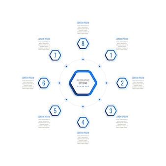 Osiem kroków okrągły szablon infografiki z niebieskimi sześciokątnymi elementami na białym tle