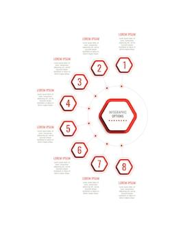Osiem kroków pionowy szablon infografiki z czerwonymi sześciokątnymi elementami na białym tle