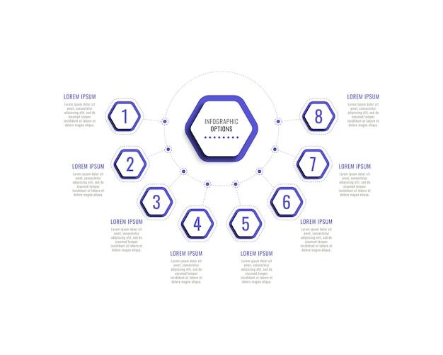 Osiem kroków poziomy szablon infografiki z fioletowymi sześciokątnymi elementami na białym tle