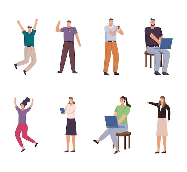 Osiem postaci awatarów osób biznesu