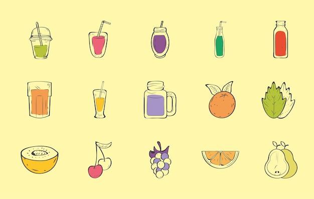 Osiem smoothie i sześć owoców