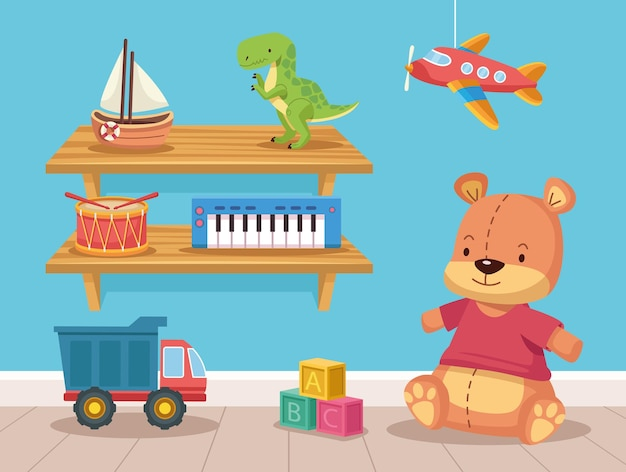 Osiem zabawek na półkach