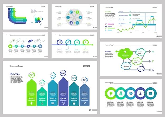 Osiem zestawów szablonów slajdów analytics