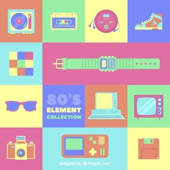Osiemdziesiątych elementy o jasnych kolorach