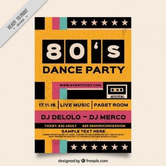 Osiemdziesiątych partia broszurę w stylu retro