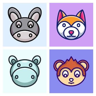 Osioł, hipopotam, pies i małpa