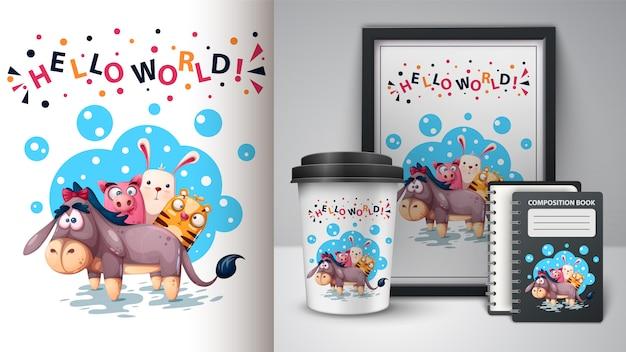 Osioł, świnia, królik, tygrys ilustracja