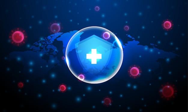 Osłaniać ochroną komórki wirusa czerwonej korony na niebieskim tle i mapie świata