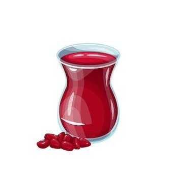 Osmański napój sorbet z granatu w szkle. zdrowy i pyszny napój ramadan. ilustracja wektorowa turecki napój owocowy.