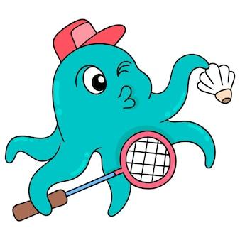 Ośmiornica ćwiczenia trzymając rakietę i wolant do gry w badmintona, ilustracji wektorowych sztuki. doodle ikona obrazu kawaii.