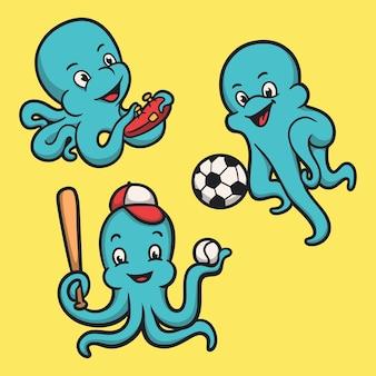 Ośmiornica Grająca W Gry, Zestaw Ilustracji Maskotki Z Logo Zwierzęcia W Piłkę I Baseball Premium Wektorów