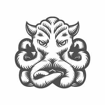 Ośmiornica. kałamarnica czarno-biała