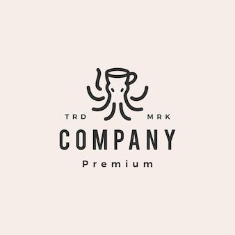 Ośmiornica kraken kawa hipster rocznika logo szablon