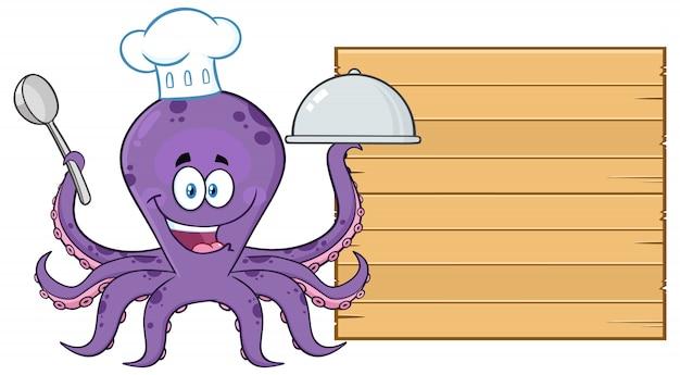 Ośmiornica kucharz postać z kreskówki, serwująca jedzenie do drewnianej tablicy. ilustracja na białym