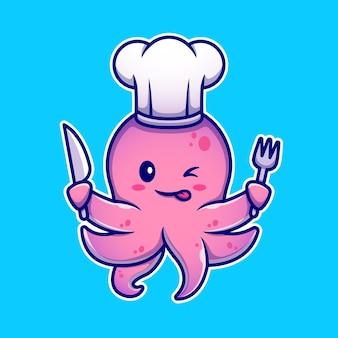 Ośmiornica kucharz trzyma nóż i widelec postać z kreskówki. karma dla zwierząt na białym tle.