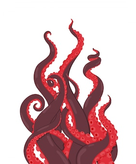 Ośmiornica. macki czerwonych ośmiornic sięgające w górę. ilustracja kraken lub kalmary. kreskówka podwodne zwierzę morskie