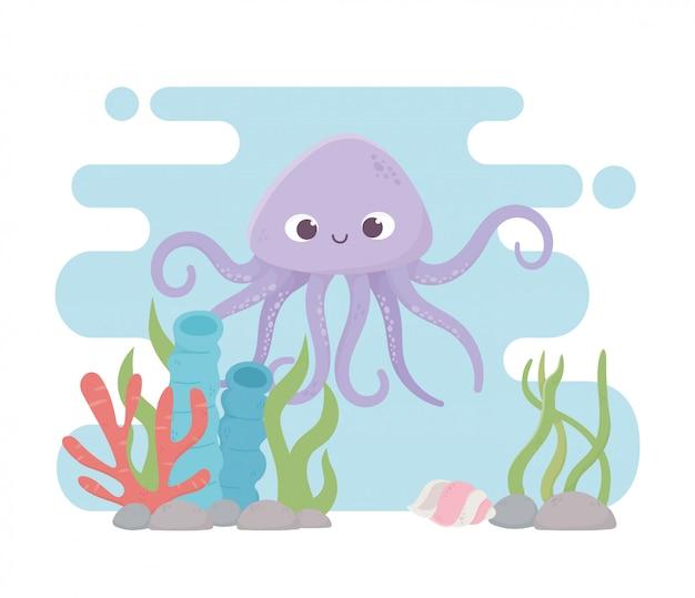 Ośmiornica muszla kamienie życie rafa koralowa kreskówka pod morzem