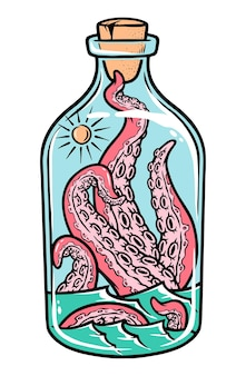 Ośmiornica na ilustracji butelki