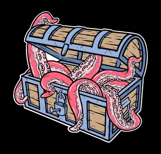 Ośmiornica w ilustracji skrzyni skarbów