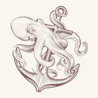 Ośmiornica z kotwicą. naszkicuj kałamarnicę morską kraken, trzymając kotwicę statku. ośmiornica granatowy tatuaż vintage design