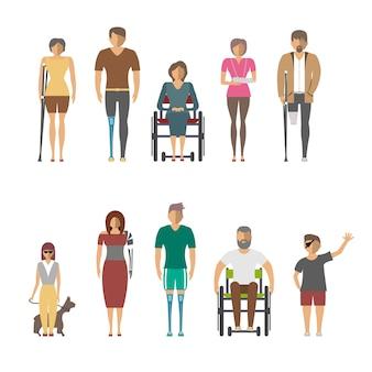 Osób niepełnosprawnych na białym tle zestaw w płaska konstrukcja