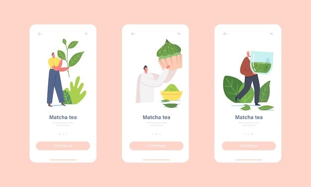 Osób pijących matcha tea mobile app strona na pokładzie szablonu ekranu. małe postacie z ogromnym liściem zielonej herbaty, filiżanką i piekarnią. pić zdrowy napój, koncepcja orzeźwienia. ilustracja kreskówka wektor