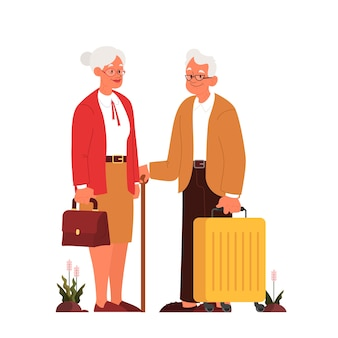 Osób starszych z bagażem i torebką. stary mężczyzna i kobieta z walizkami. zbiór starych postaci w ich podróży. podróże i turystyka