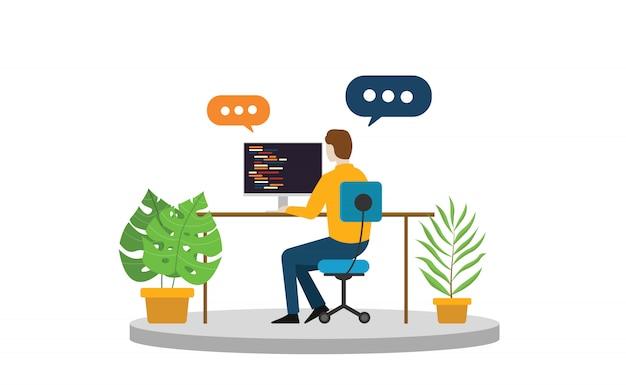 Osoba biznesu freelancer siedzi i pracuje sam