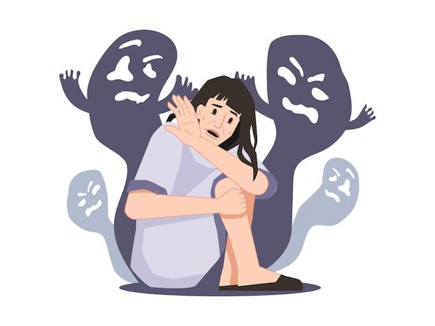 Osoba cierpiąca na schizofrenię i halucynacje widząca duchy i stwory, duchy i