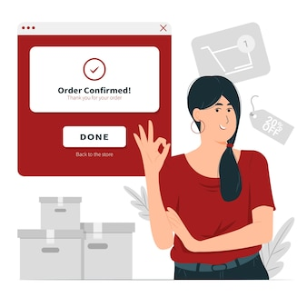 Osoba, dziewczyna, kobieta z kompletną ilustracją koncepcji zamówienia
