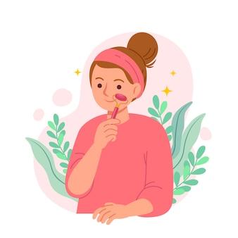 Osoba korzystająca z walca jadeitowego