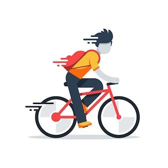 Osoba na rowerze, szybka jazda, chłopiec dostawy, płaska ilustracja