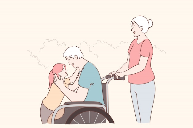 Osoba niepełnosprawna, opieka rodzinna. starzejący się niepełnosprawny mężczyzna na wózku inwalidzkim, spacerujący z rodziną w parku, szczęśliwa wnuczka przytulająca niepełnosprawnego dziadka, pielęgniarka i pomoc. proste mieszkanie