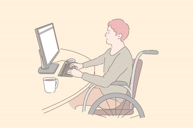 Osoba niepełnosprawna w pracy. młody człowiek na wózku inwalidzkim pracujący z komputerem, integracja społeczna osób niepełnosprawnych, paraplegiczni programiści, niezależne możliwości kariery. proste mieszkanie