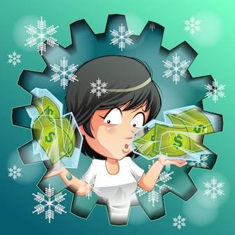 Osoba niesie zamrożone pieniądze w lodzie.