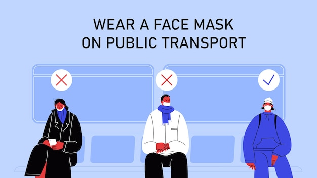 Osoba nosząca maskę na brodzie, osoba nie zakrywająca nosa oraz osoba nosząca maskę prawidłowo siedząca w transporcie publicznym.
