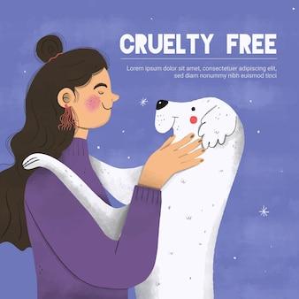Osoba obejmująca zwierzęta wolne od okrucieństwa