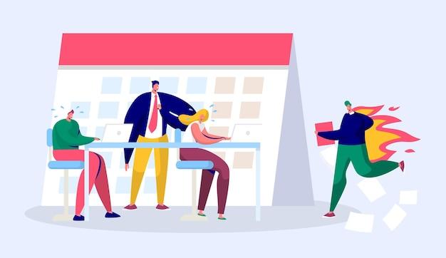 Osoba office business manager pracuje w nadgodzinach w terminie. pełny raport postaci stresującej pod presją twardego szefa.