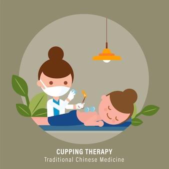 Osoba otrzymująca terapię bańką prowadzoną przez lekarza. ilustracja tradycyjnej medycyny chińskiej