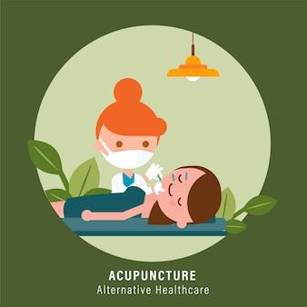 Osoba poddana zabiegowi akupunktury twarzy od lekarza. ilustracja alternatywnej opieki zdrowotnej