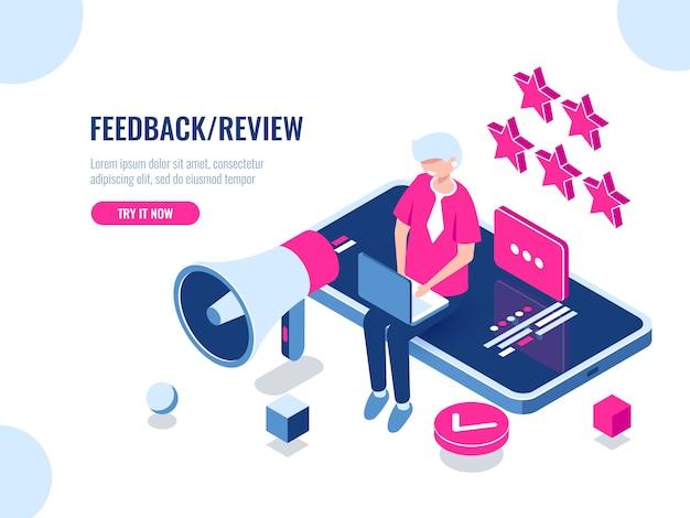 Osoba pozostawia recenzję firmy za pomocą aplikacji mobilnej na smartfonie