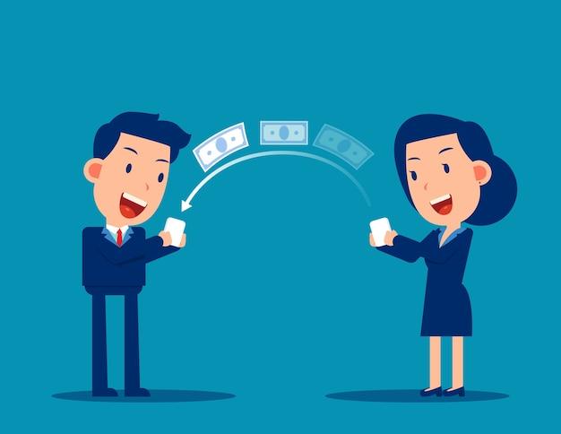 Osoba przesyła pieniądze za pomocą smartfona. koncepcja płatności