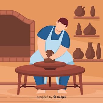 Osoba robiąca garncarstwo w domu