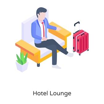 Osoba siedząca na kanapie z izometryczną ilustracją bagażową salonu hotelowego