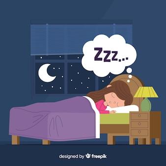 Osoba śpiąca w tle łóżka