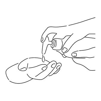 Osoba używająca środka odkażającego do rąk